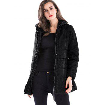 Zip Up Hooded Long Down Coat - BLACK XL