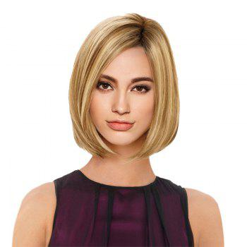 Short Side Parting Straight Bob Colormix Synthetic Wig - GOLDEN GOLDEN