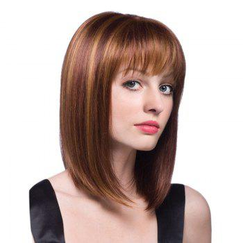 Medium Colormix Full Bang Straight Bob Synthetic Wig - BROWN + GOLDEN BROWN / GOLDEN