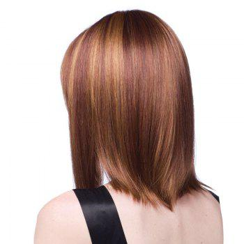 Medium Colormix Full Bang Straight Bob Synthetic Wig -  BROWN / GOLDEN