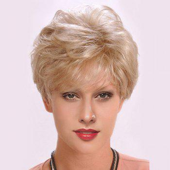 Short Side Bang Layered Fluffy Slightly Curly Synthetic Wig - LIGHT GOLD LIGHT GOLD