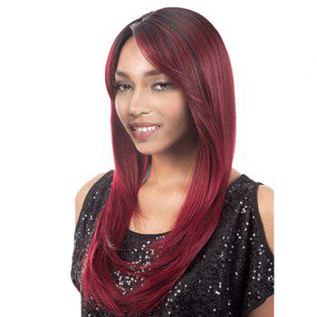 Long Side Parting Straight Colormix Synthetic Wig - WINE RED WINE RED