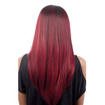 Long Side Parting Straight Colormix Synthetic Wig - WINE RED