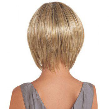 Short Oblique Fringe Straight Synthetic Wig -  GOLDEN
