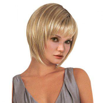 Short Oblique Fringe Straight Synthetic Wig - GOLDEN GOLDEN