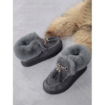 Faux Fur Ankle Tassels Boots - GRAY 38
