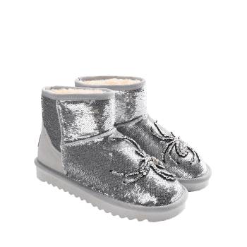 Spider Rhinestone Sequined Snow Boots - SILVER 40