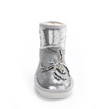 Spider Rhinestone Sequined Snow Boots - SILVER 37