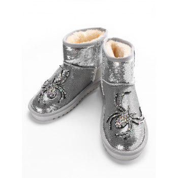 Spider Rhinestone Sequined Snow Boots - SILVER 36