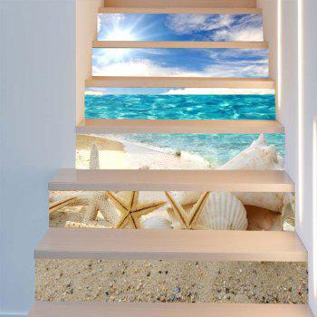 Shell and Starfish Pattern Decorative Stair Stickers - COLORFUL 100*18CM*6PCS