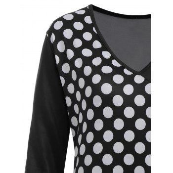 Asymmetrical Polka Dot Striped Plus Size T-shirt - BLACK 2XL