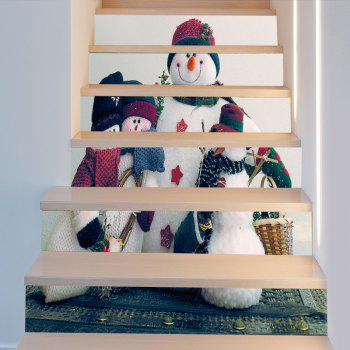 Warm Christmas Snowman Family Pattern Baubles Pattern Stair Stickers - COLORFUL 100*18CM*6PCS