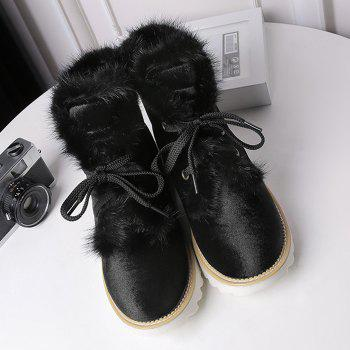 Splicing Faux Fur Lace Up Short Boots - BLACK 41