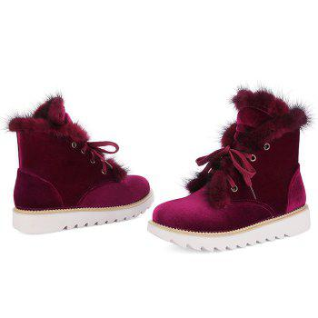 Splicing Faux Fur Lace Up Short Boots - WINE RED 38