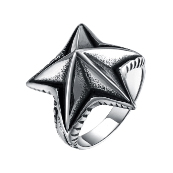 Cool Angular Star Carving Embellished Stainless Steel Ring - BLACK BLACK