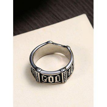 Vintage Gothic Style Mysterious Rune Carved Ring - BLACK BLACK