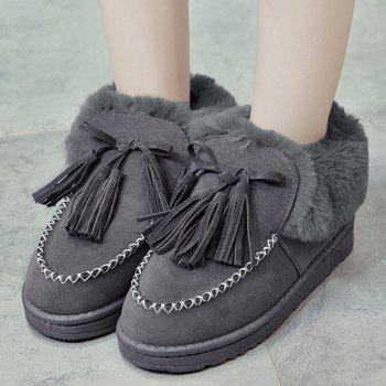 Faux Fur Stitch Tassels Ankle Boots - GRAY 39