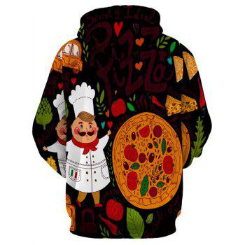 Pizza and Chef Printed Pullover Hoodie - COLORMIX L