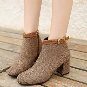 Almond Toe Buckle Strap Ankle Bootd - BROWN 39