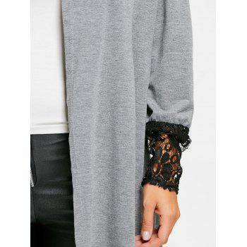 Open Front Lace Insert Tunic Cardigan - GRAY M