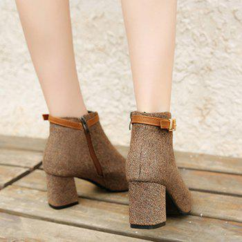 Almond Toe Buckle Strap Ankle Bootd - BROWN 38