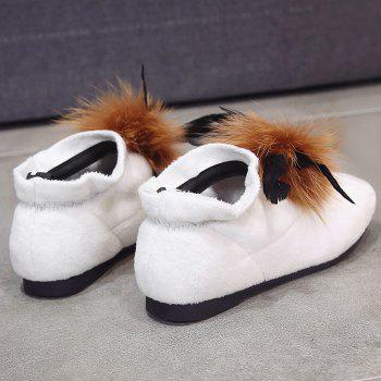 Flat Heel Round Toe Faux Fur Ankle Boots - WHITE 38