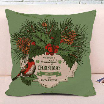 Christmas Graphic Square Decorative Throw Pillowcase - GREEN W18 INCH * L18 INCH