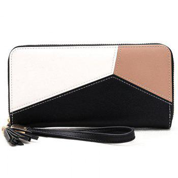 Geometric Tassel Color Block Clutch Wallet
