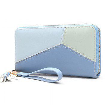 Geometric Tassel Color Block Clutch Wallet - BLUE
