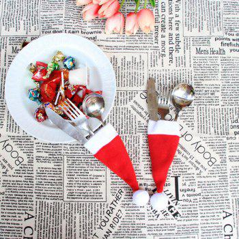 12 Pieces Christmas Hat Knife And Fork Bags Set - RED