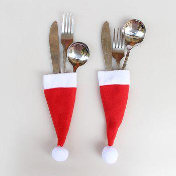 12 Pieces Christmas Hat Knife And Fork Bags Set - RED RED