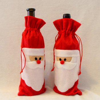 10 Pieces Santa Claus Wine Bottle Cover Bags - RED RED