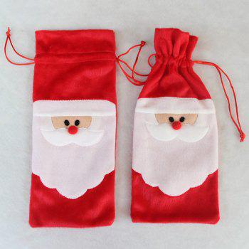 10 Pieces Santa Claus Wine Bottle Cover Bags - RED