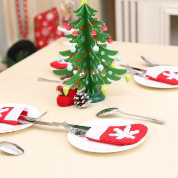 10Pcs Mini Christmas Sock Knife And Fork Bags - RED