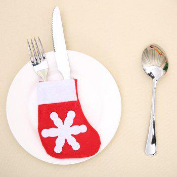 10Pcs Mini Christmas Sock Knife And Fork Bags - RED RED