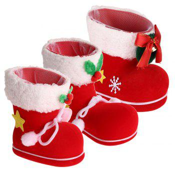 Different Size Christmas Shoes Gift Boxes 3Pcs - RED RED