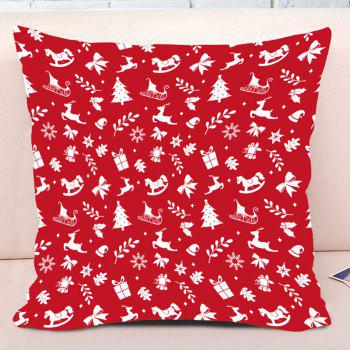 Christmas Elements Printed Decorative Throw Pillow Case - RED W17.5 INCH * L17.5 INCH