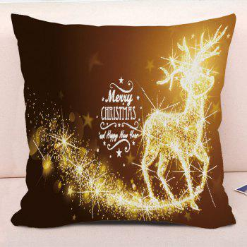 Merry Christmas Sparkling Reindeer Printed Decorative Pillowcase - GOLD BROWN W18 INCH * L18 INCH