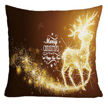 Merry Christmas Sparkling Reindeer Printed Decorative Pillowcase - GOLD BROWN GOLD BROWN