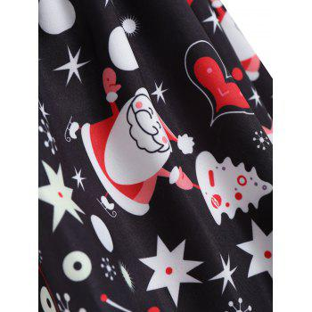 Plus Size Christmas Santa Claus Sleeveless Dress - BLACK XL