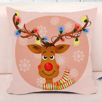 Cartoon Rudolph Reindeer Print Decorative Throw Pillow Case - NUDE PINK NUDE PINK