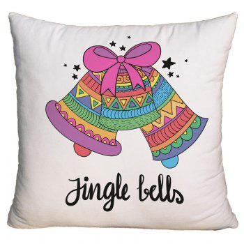 Christmas Jingle Bells Print Decorative Square Pillow Case - COLORFUL COLORFUL