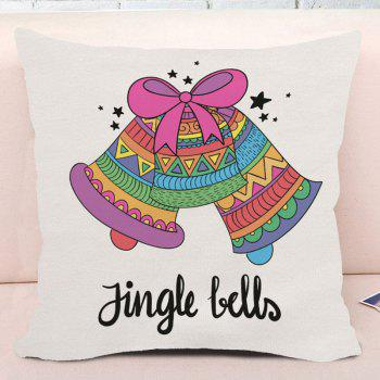 Christmas Jingle Bells Print Decorative Square Pillow Case - COLORFUL W18 INCH * L18 INCH