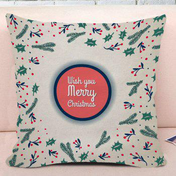Merry Christmas Plant Print Decorative Square Pillow Case - COLORMIX W18 INCH * L18 INCH