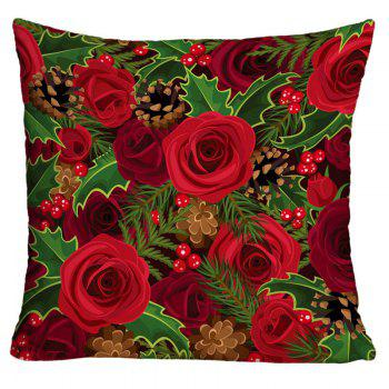 Roses and Pine Cones Printed Decorative Throw Pillow Case - COLORMIX COLORMIX