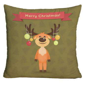 Christmas Cartoon Elk Print Decorative Throw Pillow Case - LAWN LAWN