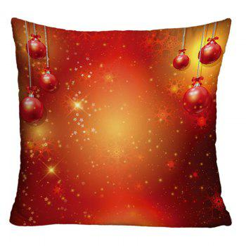 Christmas Hanging Balls Printed Square Decorative Pillowcase - RED RED