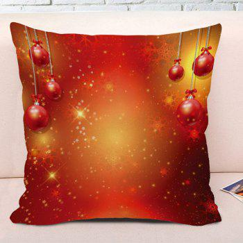 Christmas Hanging Balls Printed Square Decorative Pillowcase - RED W18 INCH * L18 INCH