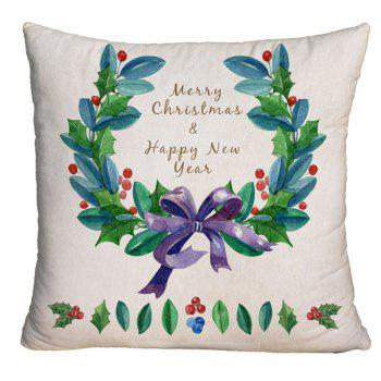 Christmas Wreath Printed Square Decorative Pillow Case - OFF-WHITE OFF WHITE