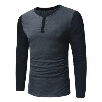 Color Block Panel Long Sleeve Henley T-Shirt - DEEP GRAY DEEP GRAY